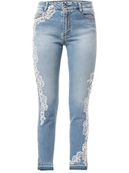 Ermanno Scervino Skinny Stretch Jeans Lace W Crystal Deco On Side 60
