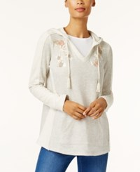 Style And Co Embroidered Tassel Hoodie Created For Macy's Floral Blush