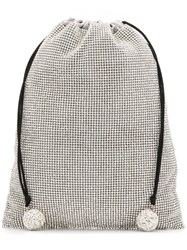 Ca And Lou Embellished Drawstring Clutch Silver