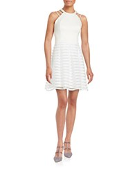 Guess Striped Halter Fit And Flare Dress Ivory