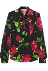 Dolce And Gabbana Pussy Bow Floral Print Silk Blend Blouse Black
