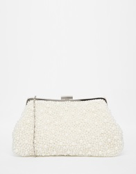 Chi Chi London Chi Chi Beaded White Clutch Bag With Diamantes