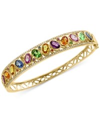 Effy Watercolors Multi Gemstone 7 Ct. T.W. And Diamond 3 8 Ct. T.W. Openwork Bangle Bracelet In 14K Gold Yellow Gold