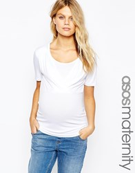 Asos Maternity Nursing Wrap Over Top With Short Sleeve White