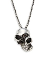Alexander Mcqueen Silvertone Brass Skull Pendant Necklace Antique Silver