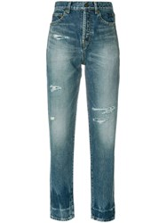 Saint Laurent Distressed Fitted Jeans Cotton Blue