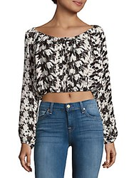 Loveshackfancy Printed Boatneck Silk Top Black Multicolor