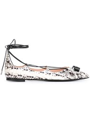 Salvatore Ferragamo Snakeskin Lace Up Ballerinas White