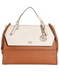 Guess Huntley Top Handle Flap Front Satchel Cognac Multi