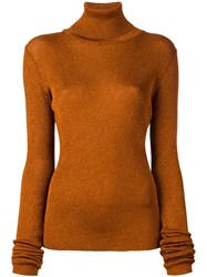 Marios Glitter Effect Turtleneck Jumper Yellow And Orange