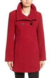 Larry Levine Women's Double Breasted Coat Red