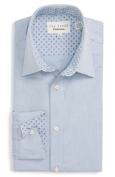 Ted Baker Men's Big And Tall London 'Morrell' Trim Fit Texture Dress Shirt Grey