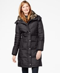 London Fog Faux Fur Collar Quilted Down Coat Brown