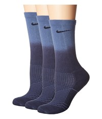 Nike Dri Fit Cushion Crew 3 Pair Obsidian Ocean Fog Obsidian Women's Crew Cut Socks Shoes Blue