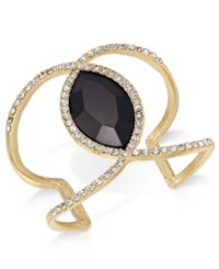 Inc International Concepts Gold Tone Pave And Jet Stone Open Cuff Bracelet Created For Macy's Black