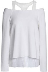 Bailey 44 Cold Shoulder Mesh Trimmed Stretch Modal Fleece Top White