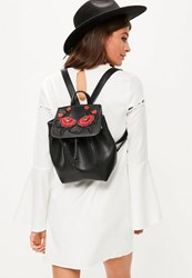 Missguided Black Faux Leather Embroidered Backpack