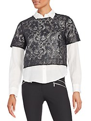 Elizabeth And James Carnie Layered Lace And Solid Shirt Black White
