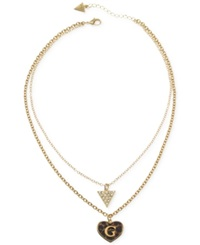Guess Gold Tone Two Row Leopard Triangle Heart Necklace
