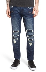 Rock Revival Men's Destroyed Coated Skinny Fit Moto Jeans Dark Blue