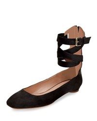 Valentino Plum Suede Lace Up Ballerina Flat Pink