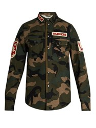Valentino Patch Applique Camouflage Print Cotton Jacket Green Multi
