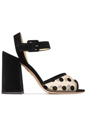 Charlotte Olympia Emma Polka Dot Mesh And Suede Sandals Black