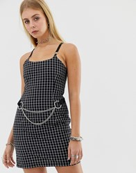 The Ragged Priest Check Mini Dress With Chain Detail Black