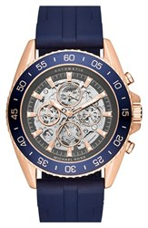 Men's Michael Michael Kors 'Jetmaster' Silicone Strap Watch 45Mm Navy Rose Gold