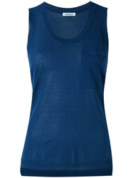 P.A.R.O.S.H. Knitted Tank Top Women Cotton Viscose L Blue