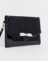 Ted Baker Cersei Patent Envelope Clutch Black