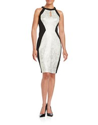 Jax Colorblocked Sheath Dress Ivory Black