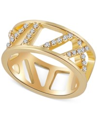 T Tahari Gold Tone Pave Crystal Cut Out Ring