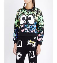 Mini Cream Monster Print Cotton Jersey Sweatshirt Black Multi