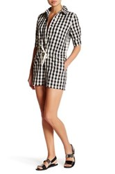 Solid And Striped Short Sleeve Romper Black