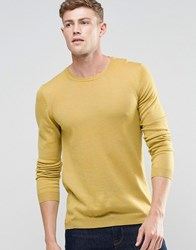 Asos Merino Wool Crew Neck Jumper In Yellow Twist Yellow Twist