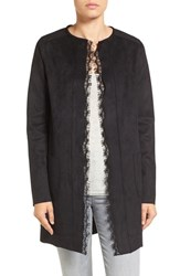 T Tahari Women's Rosemary Lace Trim Faux Suede Coat