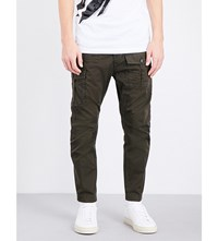 Dsquared2 Slim Fit Tapered Cotton Cargo Trousers Green Military