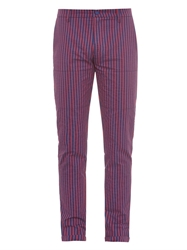 Richard Nicoll Striped Cotton Slim Leg Trousers