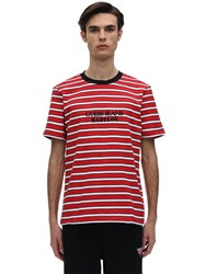 Guess Babylon Logo Cotton Jersey T Shirt Red