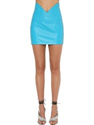 Attico V Waist Leather Mini Skirt Turquoise