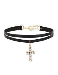Betsey Johnson Double Cross Charm Two Row Black Choker Necklace