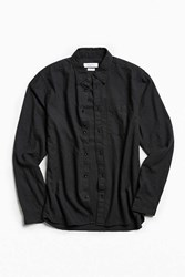 Urban Outfitters Uo Cross Dyed Stevens Button Down Shirt Black