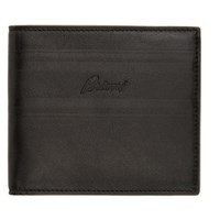 Brioni Black And Taupe Logo Wallet
