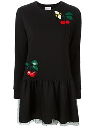 Red Valentino Cherry And Bee Embroidered Dress Black