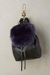 Anthropologie Phoebe Faux Fur Backpack Blue