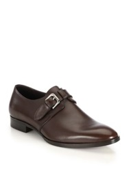 Ralph Lauren Grishman Leather Monk Strap Dress Shoes Dark Brown Black