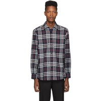 Burberry Navy Check Flannel Chambers Shirt