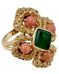 Lc Estate Jewelry Collection Estate Van Cleef And Arpels 18K Gold Coral And Chrysoprase Cocktail Ring