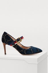 Gucci Sylvie Gg Velvet Pumps Blue